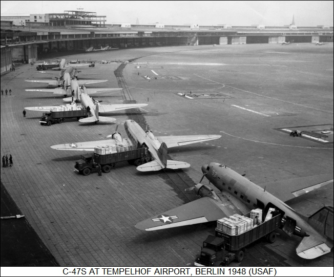 C-47s at Tempelhof Airport, Berlin, 1945